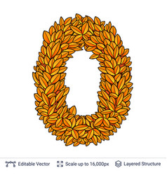 Zero number of autumn leaves vector