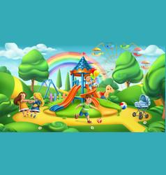 children playground nature landscape park 3d vector image