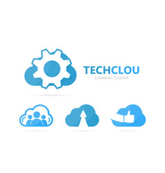 gear and cloud logo combination vector image vector image