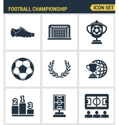 Icons set premium quality of football championship vector image vector image