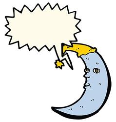 sleepy moon cartoon with speech bubble vector image