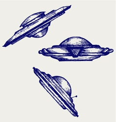 Space flying saucer vector image