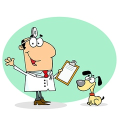 Caucasian Cartoon Canine Veterinarian Man vector image vector image