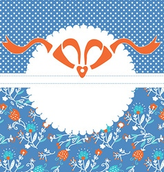 Greeting card template with frame and pattern with vector image vector image