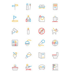 Hotel and Restaurant Colored line Icons 7 vector image vector image