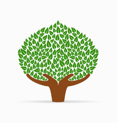 human hand green tree concept for social help vector image