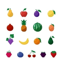 Icons Fruits and Berries in Flat Style Set vector image