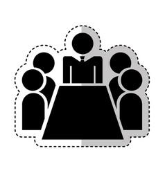 teamwork silhouette figure human vector image