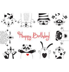 birthday card with funny animals pig bear fox vector image