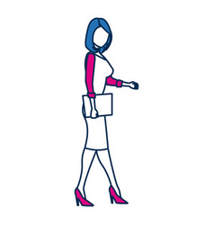 business woman person in blue and fuchsia vector image