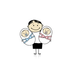 Happy mother with newborn twins vector image vector image
