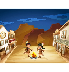 Two Indian girls dancing around the fire vector image vector image