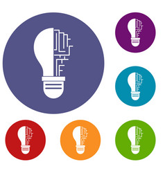 circuit board inside light bulb icons set vector image vector image