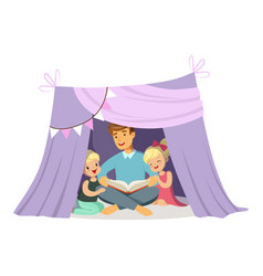 dad reading a book to her children while sitting vector image vector image