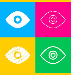 eye sign four styles of icon on four vector image vector image