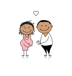 Happy parents waiting for baby pregnancy vector image