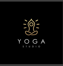 abstract minimalist meditation yoga pose logo vector image