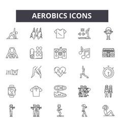 Aerobics line icons editable stroke signs vector