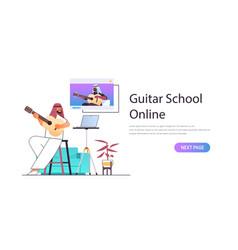 Arab man playing guitar with arabic teacher in web vector