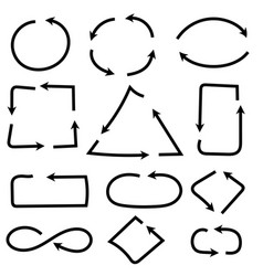 Arrows combinations simple and complex black flat vector