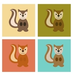 Assembly flat icons nature cartoon squirrel vector