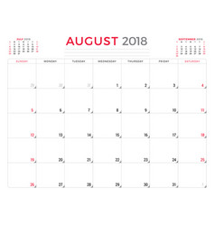 August 2018 calendar planner design template week vector