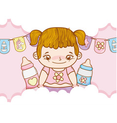 Baby girl with pigtails and feeding bottles vector