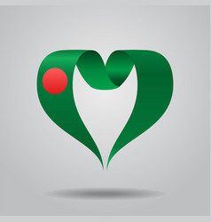 Bangladeshi flag heart-shaped ribbon vector
