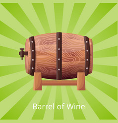barrel wine icon on green vector image