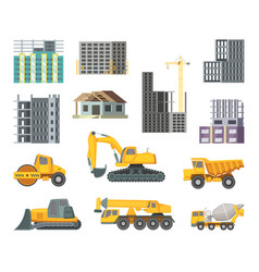 Big heavy yellow machines and modern buildings at vector