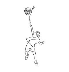 Boy playing badminton sketch doodle vector
