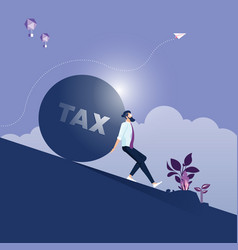 Businessman carrying big stone with tax message vector