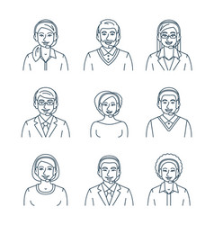 Call center agents flat line avatars vector
