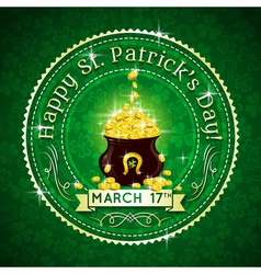 Card for St Patricks Day with text and pot with go vector