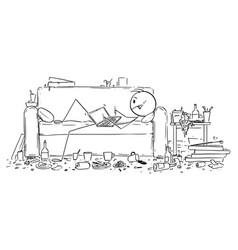 Cartoon man or businessman lying on couch vector