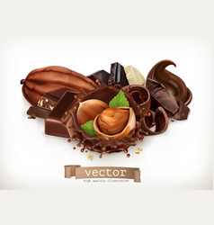 Chocolate bars and pieces hazelnut and chocolate vector