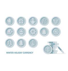 christmas cryptocurrency logo set - santa claus vector image