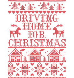 Christmas pattern driving home for christmas carol vector