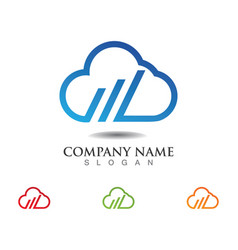 cloud servers data logo and symbols icons vector image