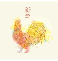 Cock on watrcolor background vector image