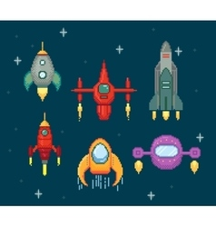 collection of pixel spaceships vector image
