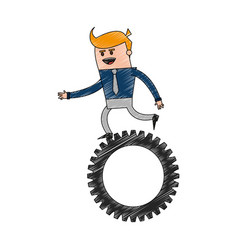 Color pencil cartoon business man riding a gear vector