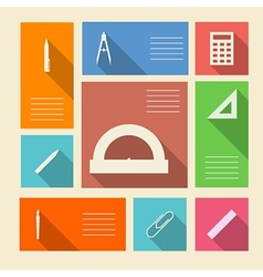 Colored icons for school supplies with place for vector image