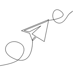 Continuous one line drawing paper airplane vector