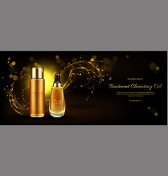 Cosmetics oil cleansing treatment bottles mockup vector