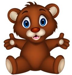 cute baby brown bear cartoon sitting vector image