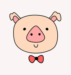 Cute head pig with bow tie vector