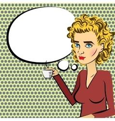 Cute woman blonde hair pop art drinking coffee vector image