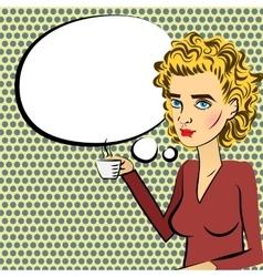 Cute woman blonde hair pop art drinking coffee vector