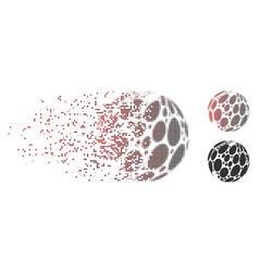Dispersed pixel halftone spotted abstract sphere vector